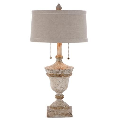Like a garden urn, this French Country table lamp has a hand turned base in an antique white finish with a dark linen shade accented by ivory trim.