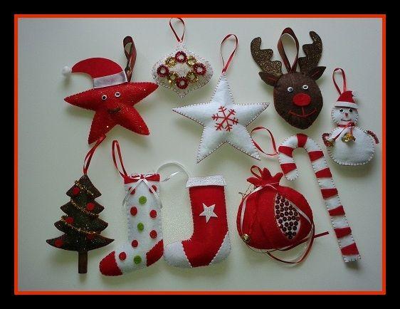 Χειροποίητα χριστουγεννιάτικα στολίδια από τσόχα.