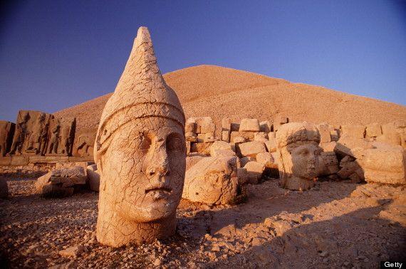 Ancient statue heads at Mount Nemrut, Turkey