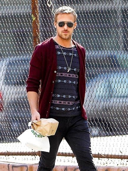 Dear men of the world, THIS is what casual should look likeSweaters, Indian Prints, Celebrities Style, Effortless Style, Men Fashion, Beautyryan Gosling, Ryan Gosling Fashion, Maroon Cardigans, Tribal Prints