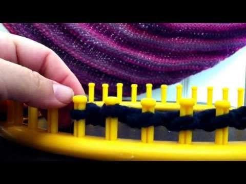 Loom Knitting - Boomerang Shawl - She teaches: Flat Panel On Round Loom, Chain Cast On, Skip One, Purl Stitch, Half Stitch, Knit Stitch, Knit 2 Together, Make One (Yikes!... Deb lol)