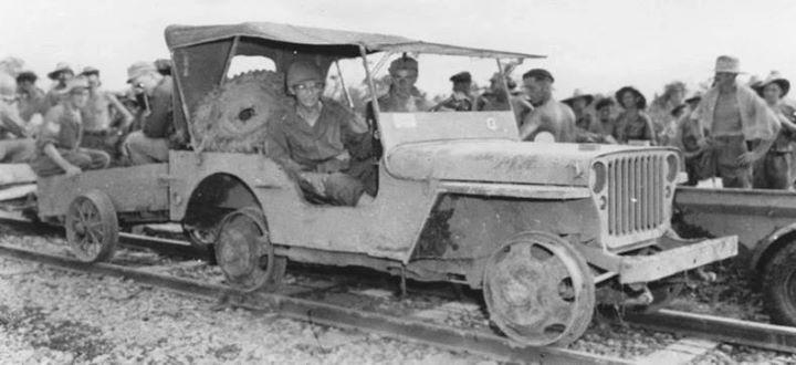 Lieutenant General Joseph Stilwell in a Jeep adapted for rail use Myitkyina Burma 18 July 1944.