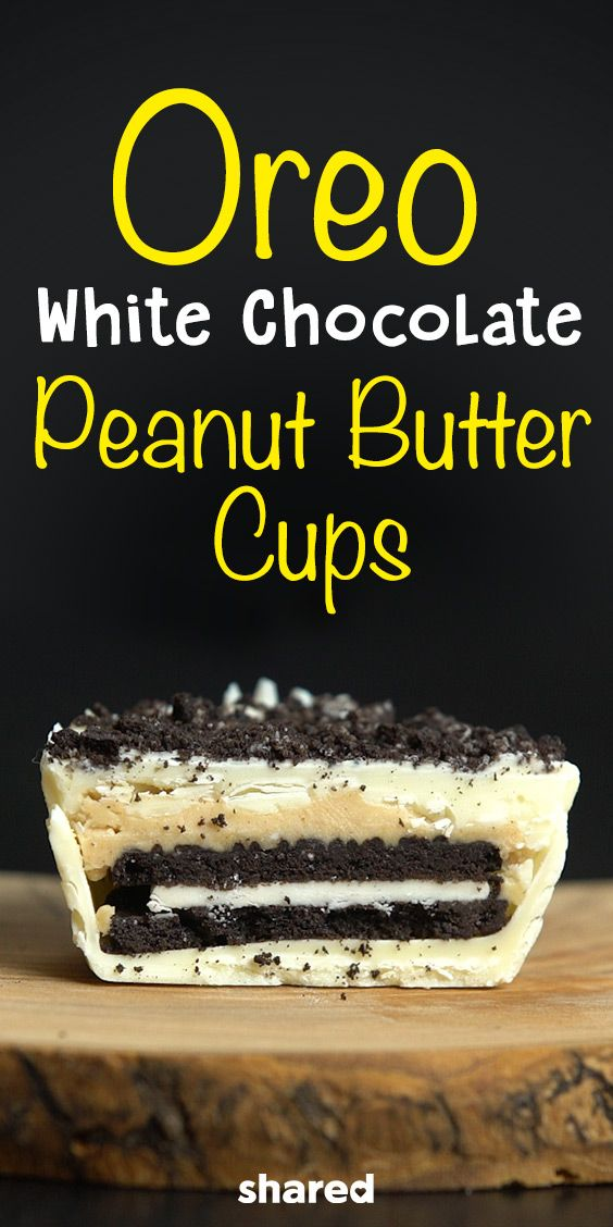 These Oreo White Chocolate Peanut Butter Cups have everything required for the ultimate snack. Velvety whipped peanut butter frosting, a chocolatey oreo cookie enrobed in sweet white chocolate. This recipe will satisfy any sweet tooth, just make sure to make more than 3!