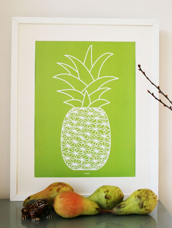 Graphic Art Print poster of a Pineapple moss by Ramalamb on Etsy
