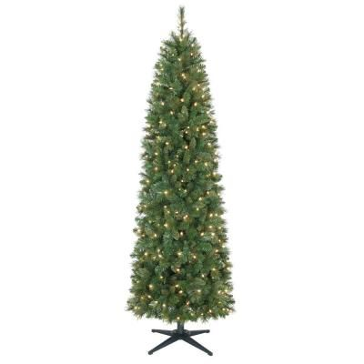 7 ft. Pre-Lit Wesley Pencil Spruce Artificial Christmas Tree with Clear Lights, YONT835300CL at The Home Depot - Tablet