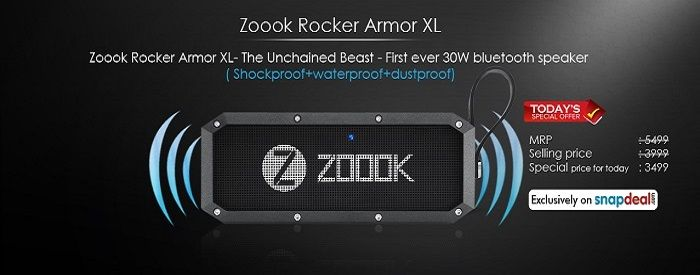 Zoook ‪#‎Rocker‬ Armor XL- The Unchained Beast - First ever 30W bluetooth speaker( Shockproof+waterproof+dustproof) available at Rs. 500 ‪#‎discount‬ valid only for today Price : MRP: 5499 ‪#‎Regular‬ selling price: 3999 ‪#‎Offer‬ price: 3499 Just check and enjoy( Click the below image or link) Buy Link : http://goo.gl/tbiFG1