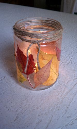 Use leaves and modge podge to make lantern....baby food jars work...try thissss! put on desk at work? Centerpiece for Thanksgiving?
