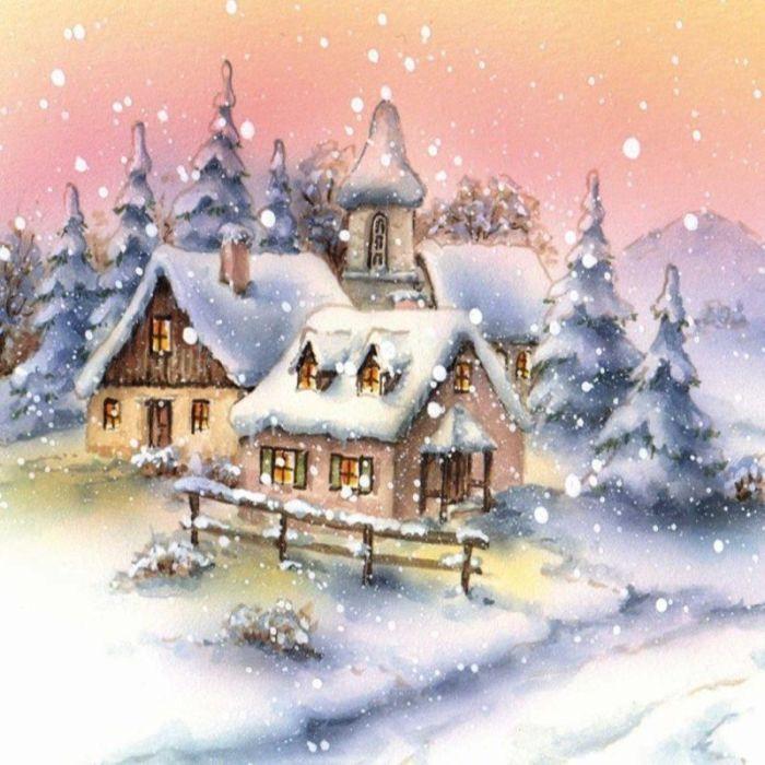 арке новогодний домик картинка декупаж зимняя ренет татарский