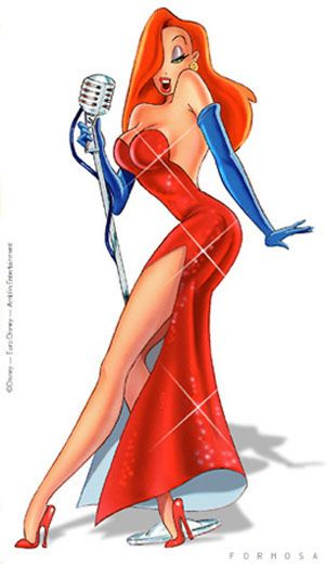 Red dress cartoon 70s