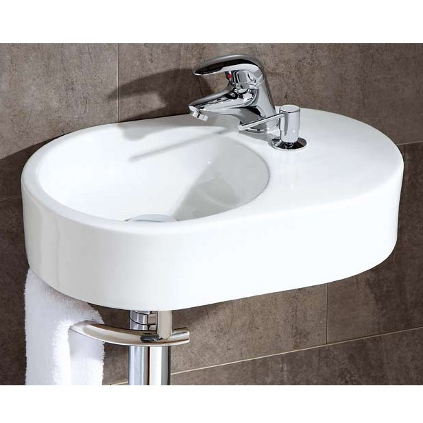 Brienza Cloakroom Basin, priced at £180.95. The Brienza oval cloakroom basin with integral soap dispenser and towel rail, a compact, contemporary basin at a fantastic price. Order now at - http://www.betterbathrooms.com/bathroom-suites/cloakroom-basins/brienza-cloakroom-basin/