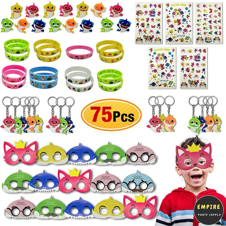 75 Pack Baby Shark Party Favors Doo Bag Face Mask