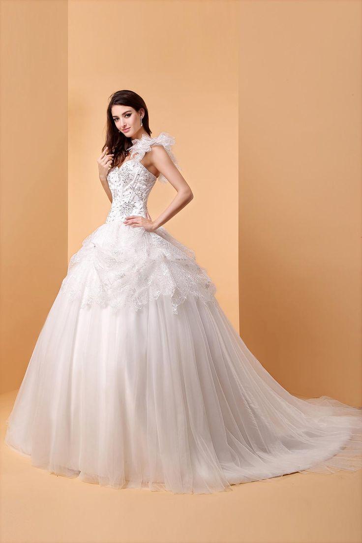 Fancy Formal Dresses Hot New One Shoulder Ball Gown Wedding Bridal Dress Crtsyal Beading Flower Lace
