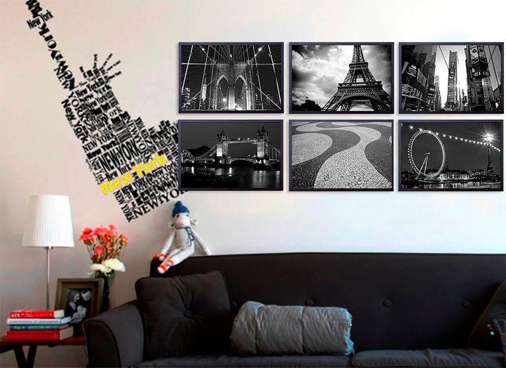 Kit com 6 Quadros Decorativos Cidades Londres Paris Nova York Rio de Janeiro 60x90cm - Decore Pronto