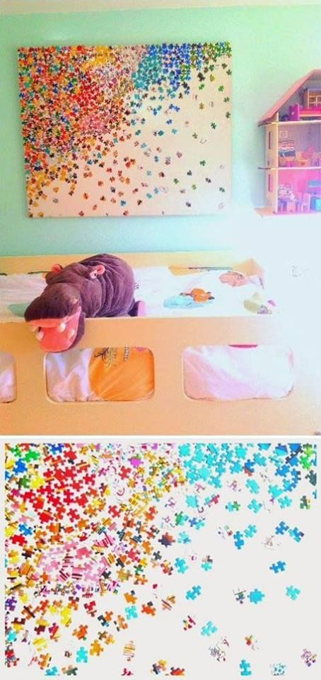 Fun craft (and adorable decor) you can do with the kids: puzzle piece art! Grab a bright  colorful puzzle with lots of pieces  let your little one help you paste them down on a canvas. Great for their bedroom or playroom!