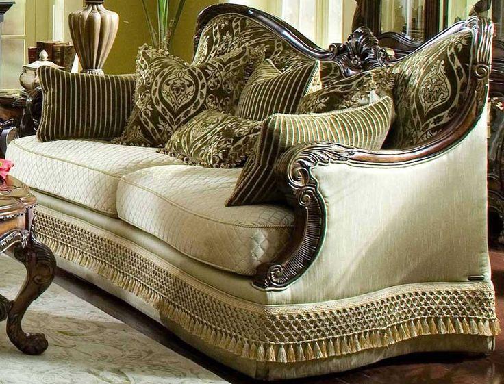 Aico chateau beauvais wood trim sofa livingroom decor - Chateau beauvais living room furniture ...