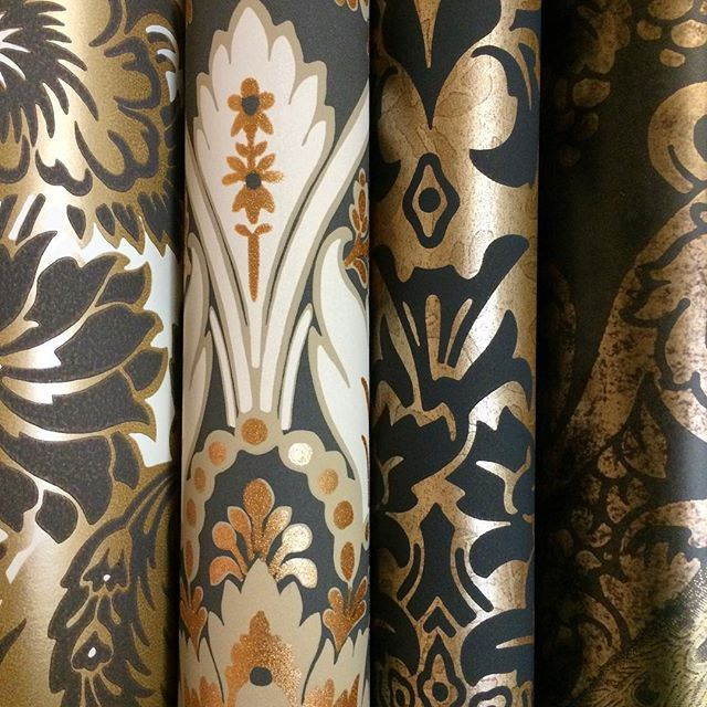 Gold & Black Damask wallpapers in the Albemarle collection.  Cole & Sons