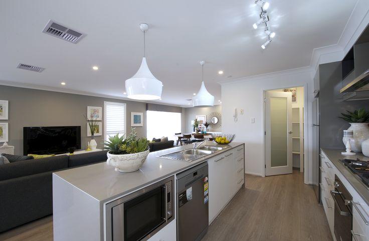 Sebring kitchen - on display at Shell Cove! #kitchen #openplan #islandbench #interiordesign #dining