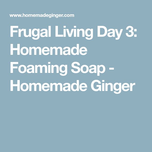 Frugal Living Day 3: Homemade Foaming Soap - Homemade Ginger