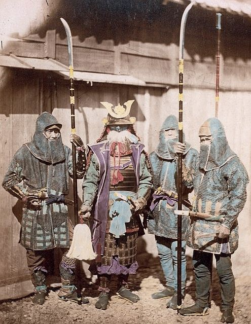 209 best japanese sca persona images on pinterest persona sword samurai in traditional armor and three retainers wearing kusari katabira chain armor jackets and fandeluxe Image collections