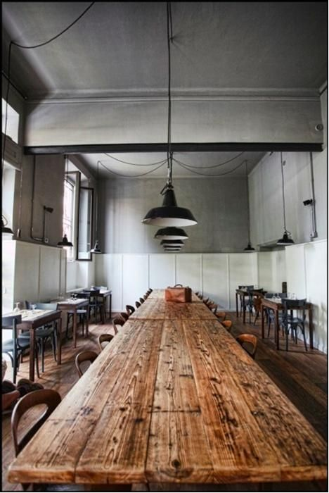 my dream kitchen has an extra long wood table with mixed up colourful tolix chairs - Extra Long Dining Room Table Sets