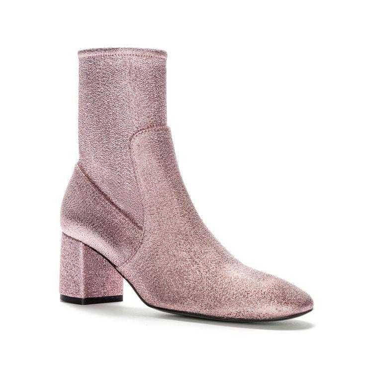 Botín en tejido lúrex BIMBA Y LOLA en color rosa. Pertenece a la Paddock Girl Collection, colección que combina nuevos modelajes con pieles natural