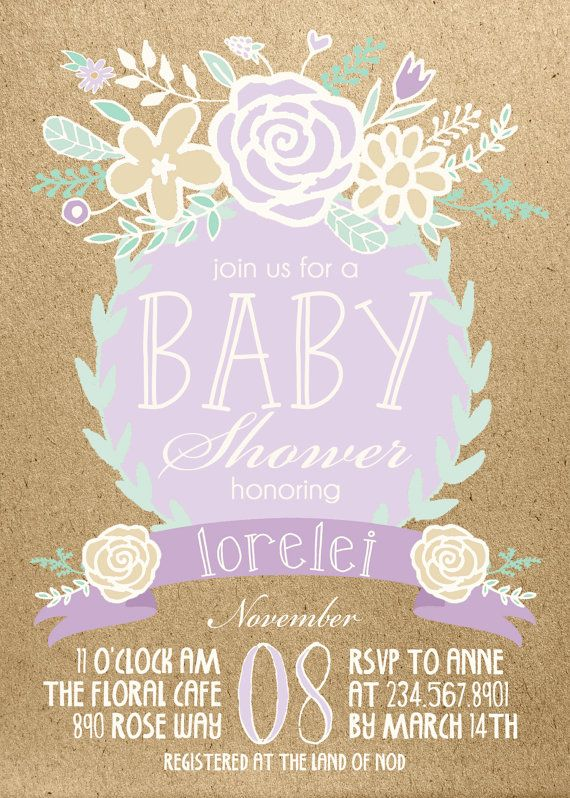 Lavender Baby Shower Invitations Part - 25: Lavender, Mint, Gold Boho Baby Shower Invitation Digital Download, Floral  Bridal Shower Bachelorette Party, Birthday Party Invite Printable