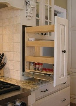Pull-Out Spice Rack Built Into Custom Wood Hood (Open) - traditional - kitchen - dc metro - Cameo Kitchens, Inc.