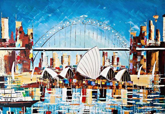 Sydney Operahouse Art Original Painting Acrylic On By Murayatiart
