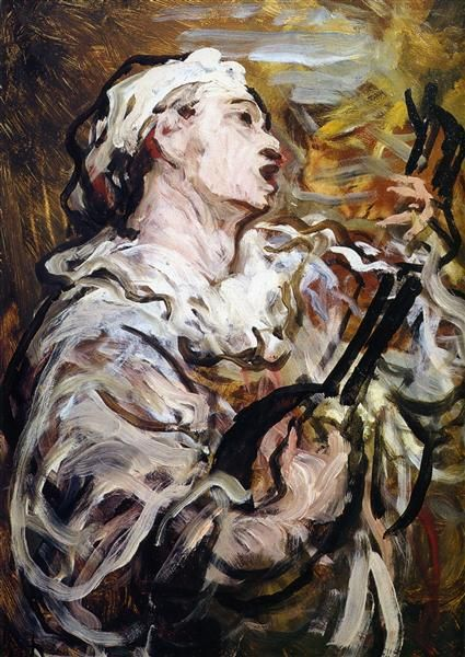 Pierrot con la guitarra, 1869 - Honore Daumier. Impresionismo