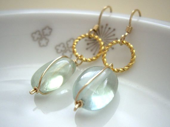 Fluorite wire wrapped gold earrings Gold twisted link