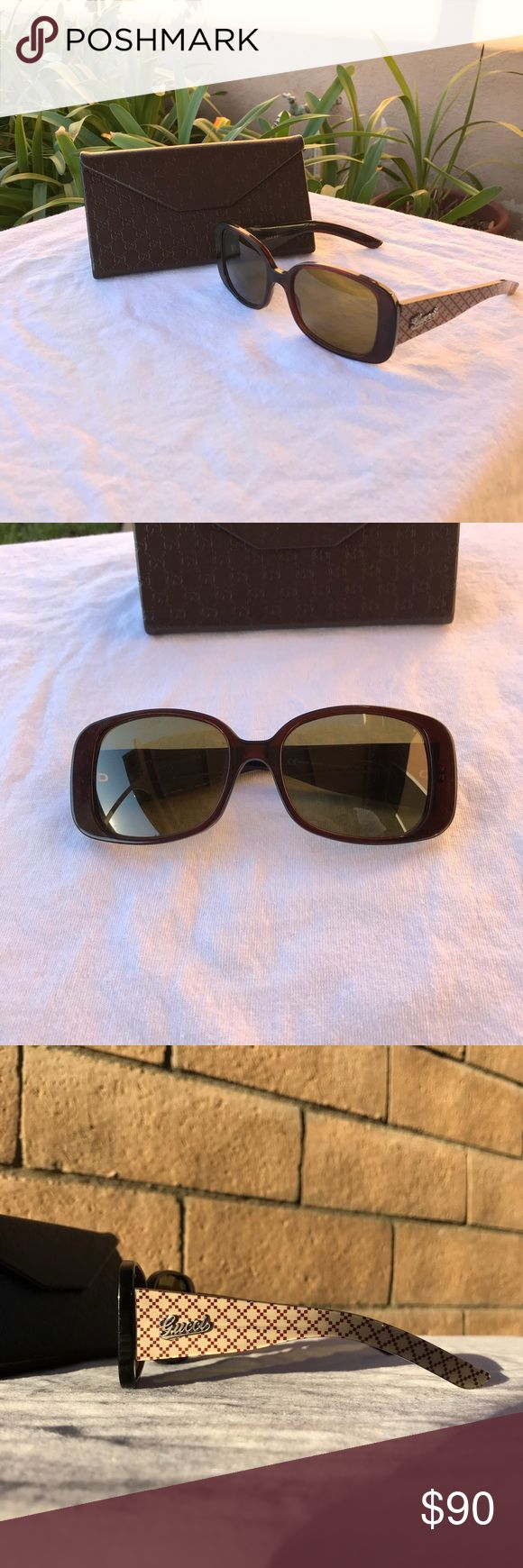 Gucci women's sunglasses w/ case Gucci women's sunglasses with the case! Glasses have very minor scratches on the lenses but all in all are in great condition! Sunglasses have the GUCCI cursive on the side with the diamond monogram along the arm! Very stylish and receive lots of compliments! open to Reasonable offers! Be confident with purchase i ship fast & won't cancel Gucci Accessories Sunglasses