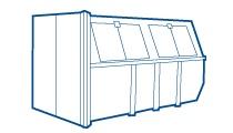 10m3 dichte afvalcontainer  Geschikt voor:  - bouwafval / sloopafval  - grofvuil  - schoon puin / stenen        - hout                                  - tuinafval, takken, struiken  - tuinhout (bielzen, schutting)