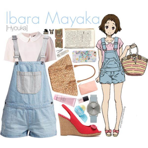 Ibara Mayaka [Hyouka] by anggieputeri on Polyvore featuring MARC BY MARC JACOBS, Vans, Straw Studios, Komono, Isaac Mizrahi, Red Herring, By Terry, Eos, Korres and NARS Cosmetics