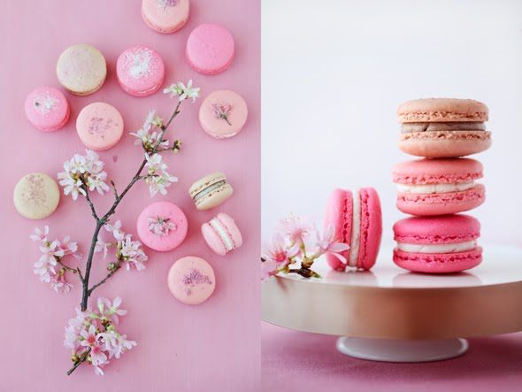 remembering the cherry blossom macarons I made for Martha Stewart Weddings