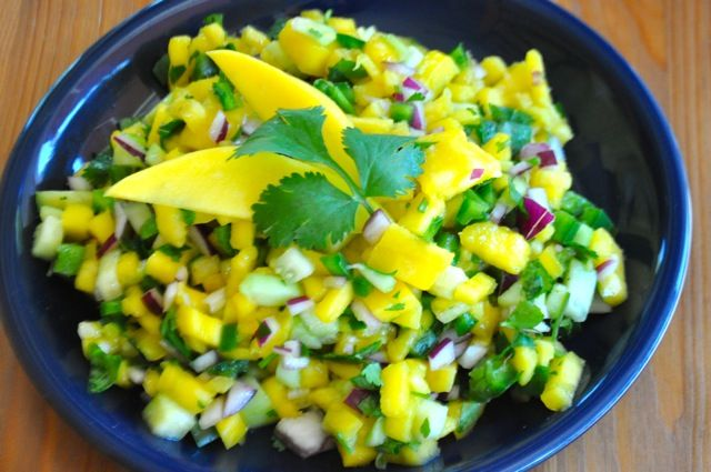 Mango and Cucumber Salsa with cilantro, lime and spicy jalapenos ...