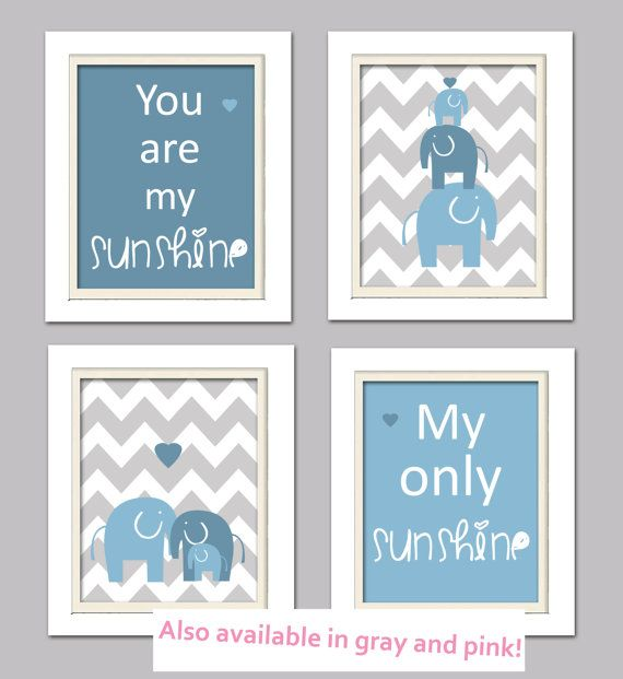 Nursery Quad, Blue and Grey Nursery, Elephant Nursery, Set of 4 8X10, Blue, Grey