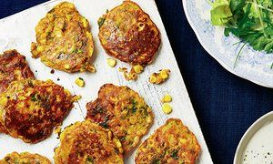 Thomasina Miers' Indian spiced sweetcorn fritters with ginger yoghurt.