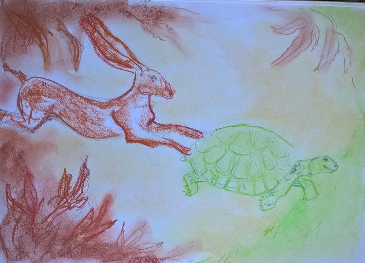 snelle schets met pastelkrijt. voorstudie haas en schildpad voor project Fabels van Aesopus.