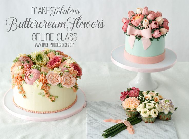 Learn how to make buttercream flowers with this online class by Make Fabulous cakes. Learn how to make the perfect buttercream to pipe flowers, how to frost a cake to a supersmooth finish and make three different cakes with buttercream flowers such as English roses, ranunculus, peony, tulips and more!