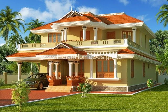 South indian style house home 3d exterior design Indian house exterior design