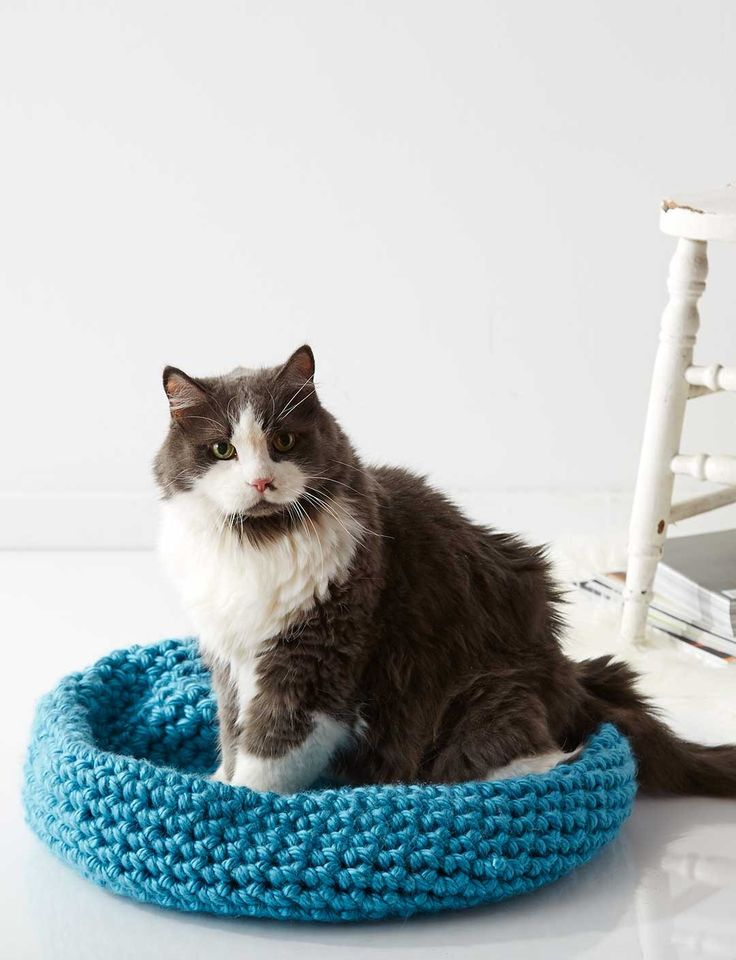 Cat Nap Nest ~ Quick and easy crochet bed for your favorite furry friend: free #crochet #pattern