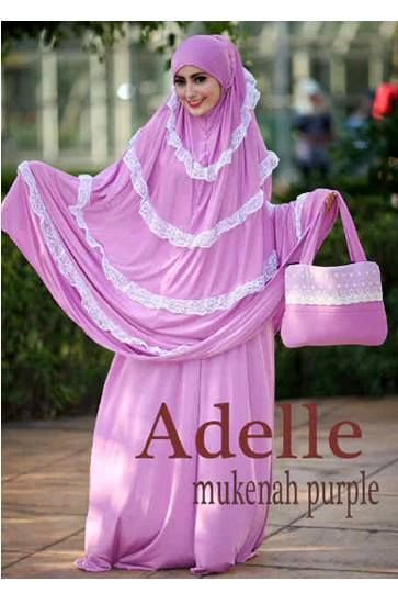 Baju Muslim WanitaAdelle Purple Mukenah Bahan Spandek Korea Kombi Renda + Tas Panjang atasan: 120cm, rok: 110 cm Harga : Rp. 262.500,-/set Kode Produk / Product Code : MK2043
