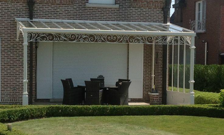 Smeedijzeren terrasoverkapping tuin pinterest - Leuningen smeedijzeren patio ...