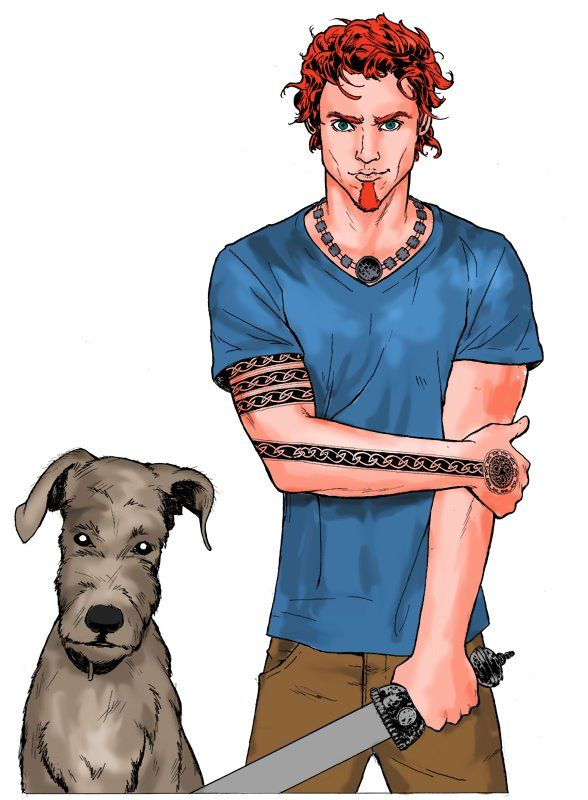 Atticus & Oberon from the Iron Druid Chronicles by Kevin Hearne. Art by Robert Hand.