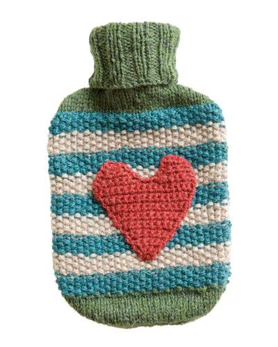 Hot water bottle cover, free pattern in German at Brigitte