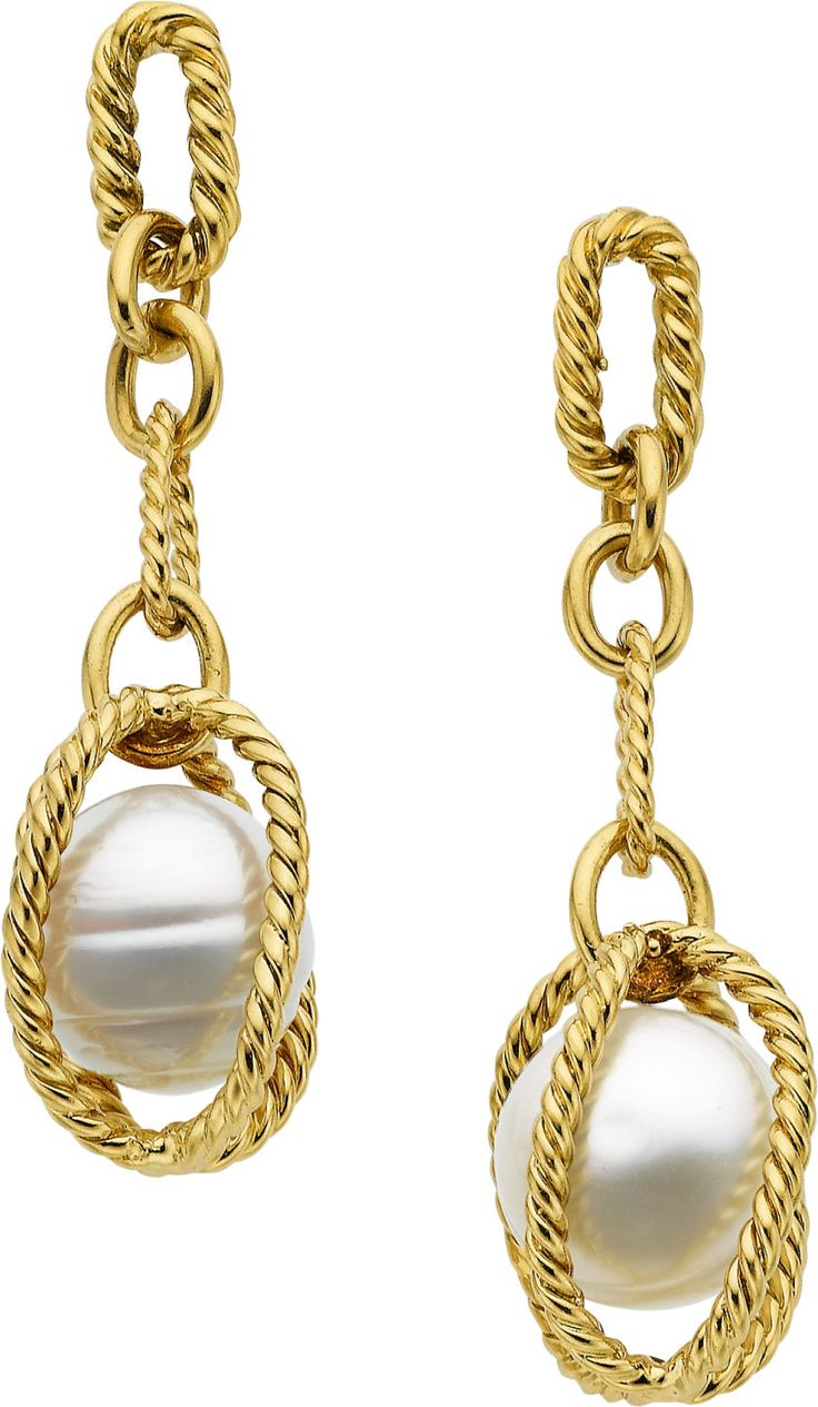 South Sea Cultured Pearl and Gold Earrings., HT
