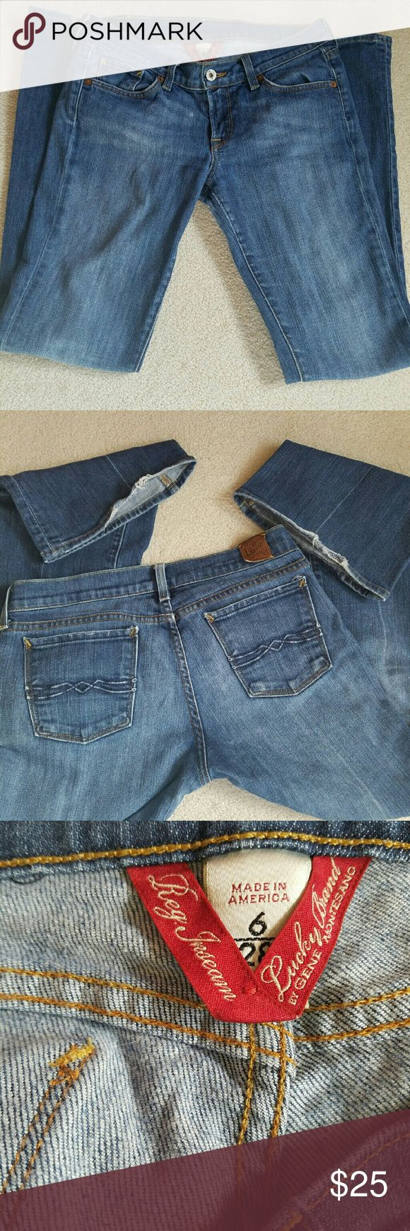 Lucky Jeans These are preloved. Great condition  The bottom of the jeans is a little worn, as seen in second pic.   Great pair of dark jeans! Lucky Brand Jeans