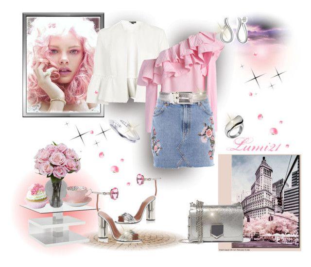 denim skirt by lumi-21 on Polyvore featuring Chicwish, Topshop, Marco de Vincenzo, Jimmy Choo, Shaun Leane, Torrini, Dolce&Gabbana, Hourglass Cosmetics, Royal Albert and Material Girl