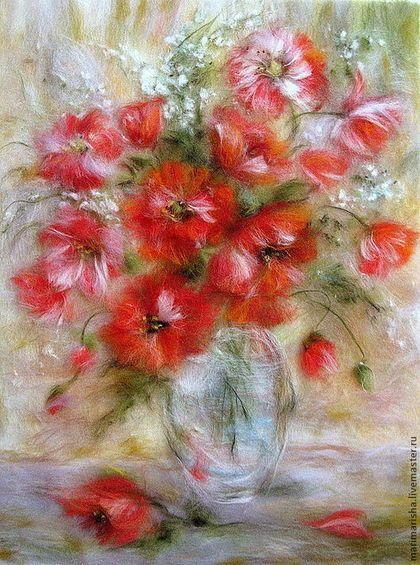 Картина из шерсти Алые Маки - коралловый,маки,алый мак,картина из шерсти