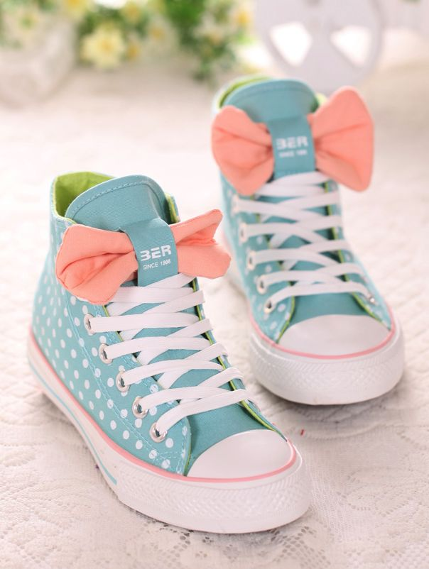 Canvas Sneakers with Bowtie